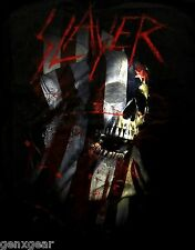 SLAYER cd lgo BLOOD US FLAG SKULL Official SHIRT SMALL New oop