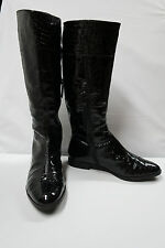 ALEX MARIE BLAKE Knee High Riding Boots Black Croc Print Patent Leather 6.5