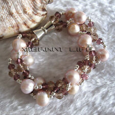 """8"""" 11-12mm Lavender With Crystal 3Row Freshwater Pearl Bracelet AC"""