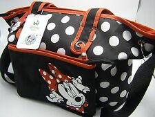 NWT DISNEY Baby Diaper Bag 4 Piece Tote Set - Minnie Mouse Black/Red/White