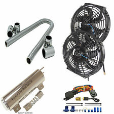 "Cooling Combo Fans 14"" Electric Radiator Fans & Relay & Overflow &  48"" Hose Kit"