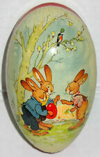 """VINTAGE Paper Mache Easter Egg (4.5""""x3.5"""") BUNNIES PLAY EGGBALL NOS German Made"""