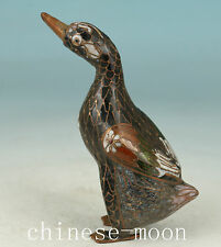 Chinese Old Cloisonne Handmade Painting Goose Statue Noble Gift Ornament