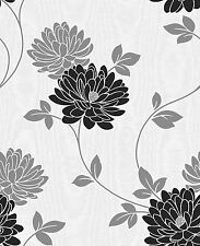 Fine Decor- FD13691 -Madison Textured Floral Trail Wallpaper- Black-White-Silver