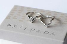 Silpada NEW Sterling Silver All Angles Stack Size 9 Rings R3484 Cubic Zirconia