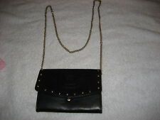 JUICY COUTURE Black Leather Purse With Heavy Chain Strap- very cool!!