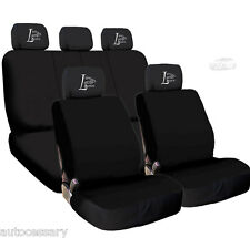 New 4X Car Live Laugh Love Logo Headrest and Black Cloth Seat Covers For Hyundai