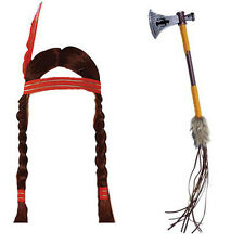 Ladies Indian Pocahontas Wig & Tomahawk Fancy Dress Wild West Costume