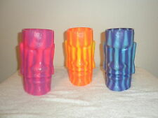 SET OF 3 TIKI HEAD-EASTER ISLAND STYLE PLASTIC GLASSES KRAZY STRAW