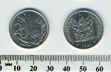 South Africa 1981 - 20 Cents Nickel Coin - Protea flower - Bilingual legend