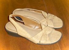 LIFE STRIDE *MIMOSA* FAUX-LEATHER STRAW-GRAIN SLINGBACK SANDALS - LADIES 5M