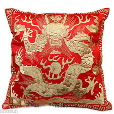 2pcs Vintage Red&Gold Dragon Phoenix Silk Embroiderd Cushion Cover Pillow CaseS