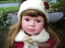 Polish Princess Red Large 58cm Baby Doll Girl Cute Real Life Looking Brown Hair