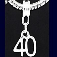 40th Birthday Pendant Charm For Silver European Snake Chain Charm Bracelet m1376