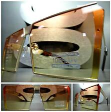 CLASSIC VINTAGE RETRO SHIELD Style SUN GLASSES Gold Frame Orange & Yellow Lens