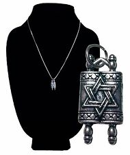 Judaica Torah Pendent Jewish Jewelry w 18 in Chain Silver Antique NEW Charm