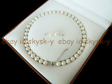 "8mm White Round Akoya Cultured Shell Pearl Necklace Earring Jewelry Set 18"" AAA"