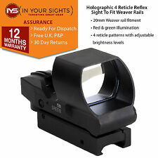 Tactical red & green dot reflex sight/weaver rail 4 réticule holographique sight