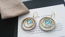 David Yurman - *Rare* Silver & 18k Mobile Earrings with Blue Topaz - Stunning!