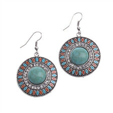 Vintage Bohemian Boho Crystals Round Green Turquoise Ear Women Hook Earrings
