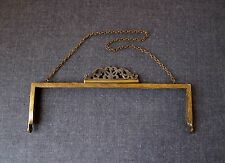 ANTIQUE SILVER FILIGREE CLASP DECORATED GOLD PLATE METAL PURSE FRAME WITH STRAP