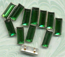 ANTIQUE Emerald Green RHINESTONE 2 HOLE SEW ON ROSE MONTEES Doll Button Bead lot