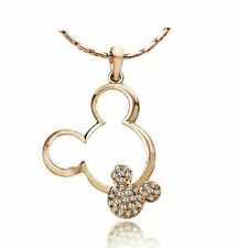 Gold Plated Crystal Mickey Mouse Necklace