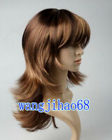 Sexy women Long wig Curly brown Natural Hair wigs + Free Wig cap