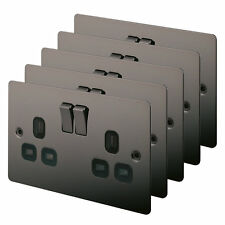 2-Gang 13A DP Switched Sockets Black Nickel Flat Plate Pack of 5