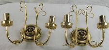 2 Candleabra Arms Candle Bulb Wall Uplighters Bright Brass Ornate Scroll Work