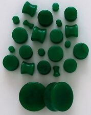 "1 Pair 1/2"" 12mm Organic Dark Green Jade Stone Saddle Plugs Solid Gauges Flared"