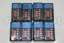 8 PILES ACCUS RECHARGEABLE 9V Ni-Mh 600mAh 6LR61 6F22 BATTERIES FRANCE POWER