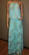 Prom long pleated dress,Maxi Dress, light turquoise dress with gold color design