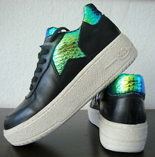 ASH FOOL Leather Fashion Sneakers Damen Sport Schuhe Leder Black Gr.37 NEU