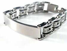 New Black & Silver 2-Tone Finish Men's Stainless Steel 8.25 Inch Link Bracelet