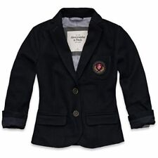 NWT Abercrombie Womens Blazer Wool Jacket Size Large Navy Blue Prep School Coat