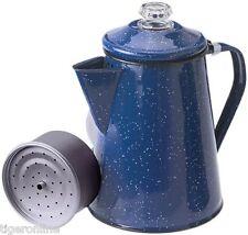 Indoor Outdoor Camping 8 Cup Blue Enamel Percolator Coffee Pot - Night Blue Perk