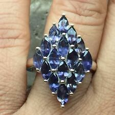 Estate Natural 12ct Iolite { Water Sapphire } 925 Solid Sterling Silver Ring 7