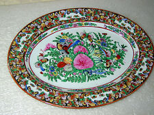#1 OF 3 LARGE FAMILLE ROSE MEDALLION BUTTERFLIES PLATTERS + LARGE CHARGER SIGNED