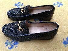 Gucci Womens Shoes Black Woven Leather Horsebit Loafers UK 3.5 US 5.5 36+ Ladies