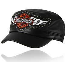 Biker hat Genuine leather cap Motorcycle cadet military black H25 BIKELIST