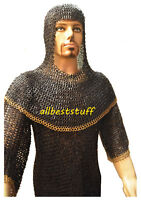 Chain Mail Shirt Flat Riveted Flat Washer Designer Brass Hauberk & Coif Set