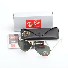 RAY-BAN MEN'S CLASSIC POLARIZED AVIATOR SUNGLASSES G-15 LENS RB3025 001/58 GOLD