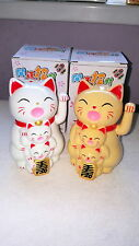 Joblot of 12 Cream and White Colour Chinese Lucky cat & Kittens new wholesale