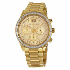 BRAND NEW WOMENS MICHAEL KORS (MK6187) BRINKLEY GOLD TONE STRAP WATCH SALE!