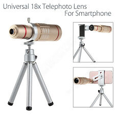 18x Zoom Telephoto Camera Lens With Tripod Holder For iPhone Mobile Phone Gold