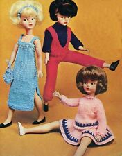 VINTAGE KNITTING PATTERN TO MAKE SINDY BARBIE DOLLS CLOTHES 3 FUN OUTFITS