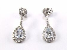 Fine Pear Cut Aquamarine & Diamond Drop/Dangle Earrings 14K White Gold 1.19Ct