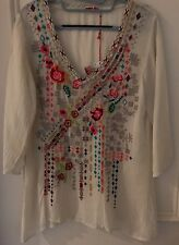 JOHNNY WAS SONRISA Embroidered Top S White NWT $212