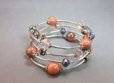 Memory wire silver tone 4 row bead bangle bracelet